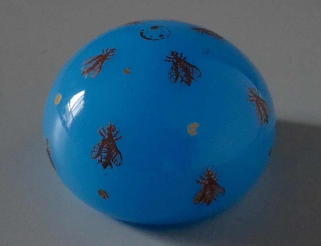 Baccarat Celestial Blue Glass Bee Paperweight France