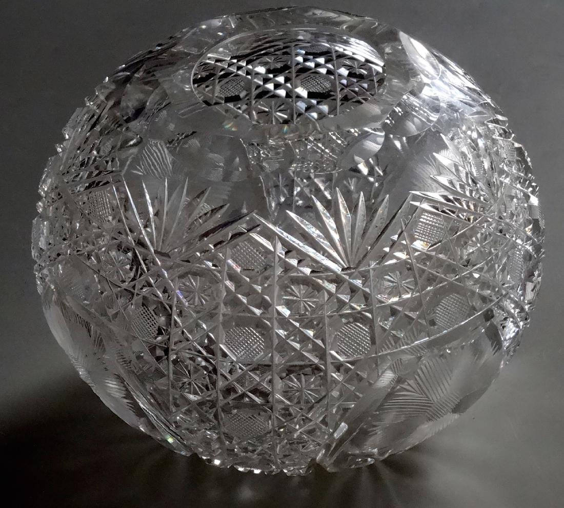 Vintage Cut Glass Ball Vase Crystal Rose Bowl