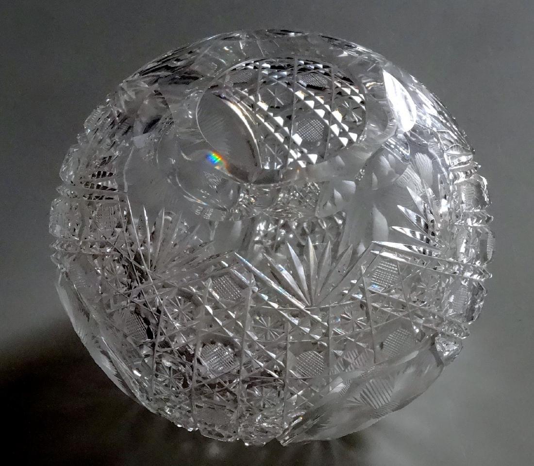 Vintage Cut Glass Ball Vase Crystal Rose Bowl - 2