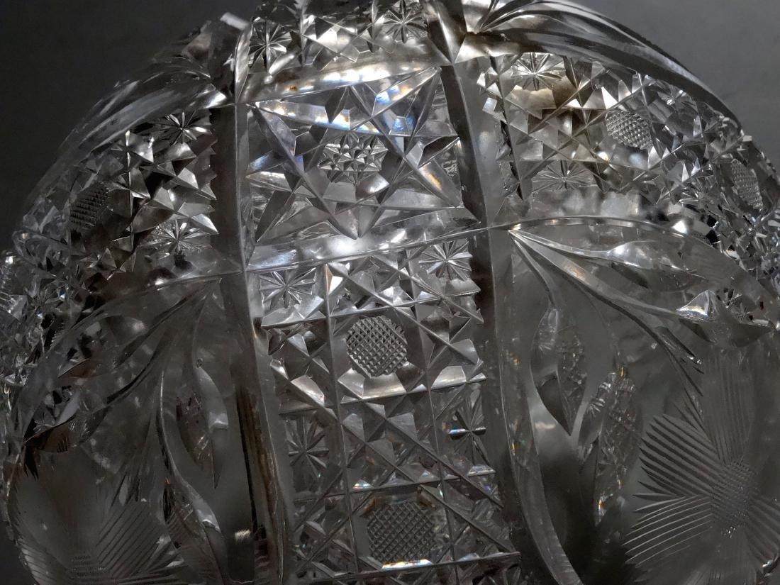 Vintage Cut Glass Ball Vase Crystal Rose Bowl - 3