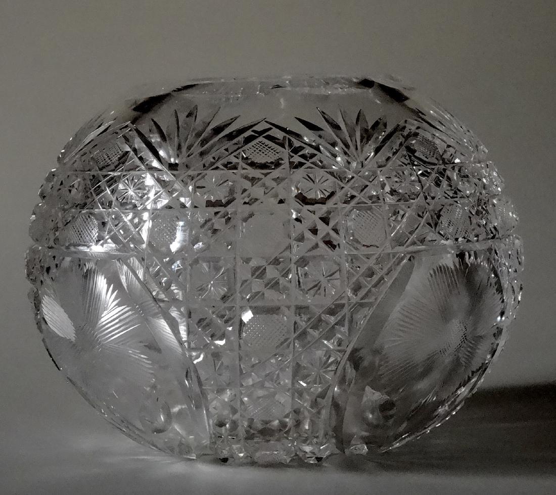 Vintage Cut Glass Ball Vase Crystal Rose Bowl - 7