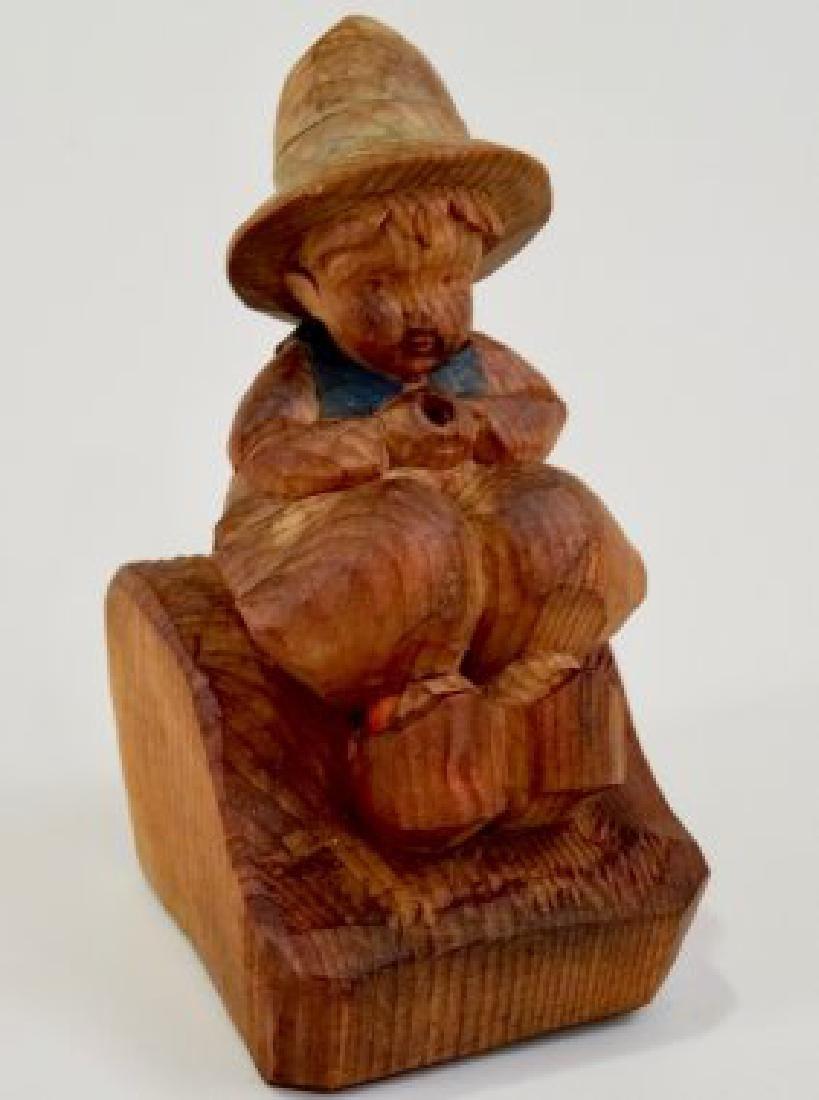 Vintage Folk Wood Carving Smoking Boy