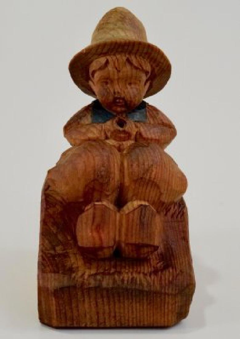 Vintage Folk Wood Carving Smoking Boy - 2