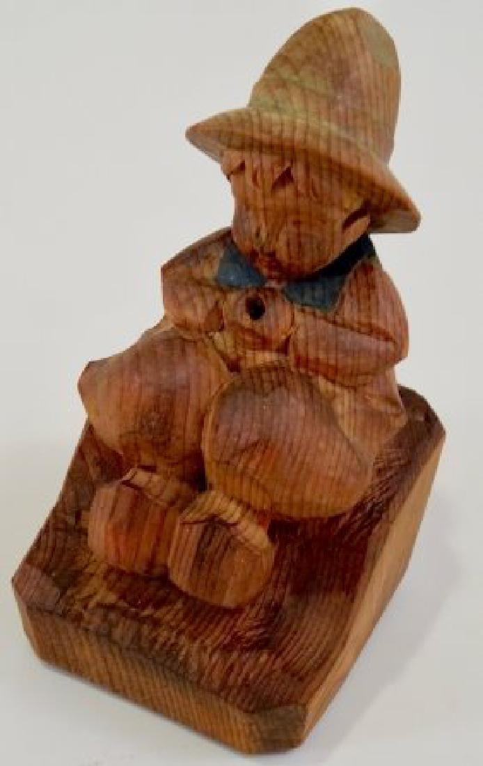 Vintage Folk Wood Carving Smoking Boy - 3