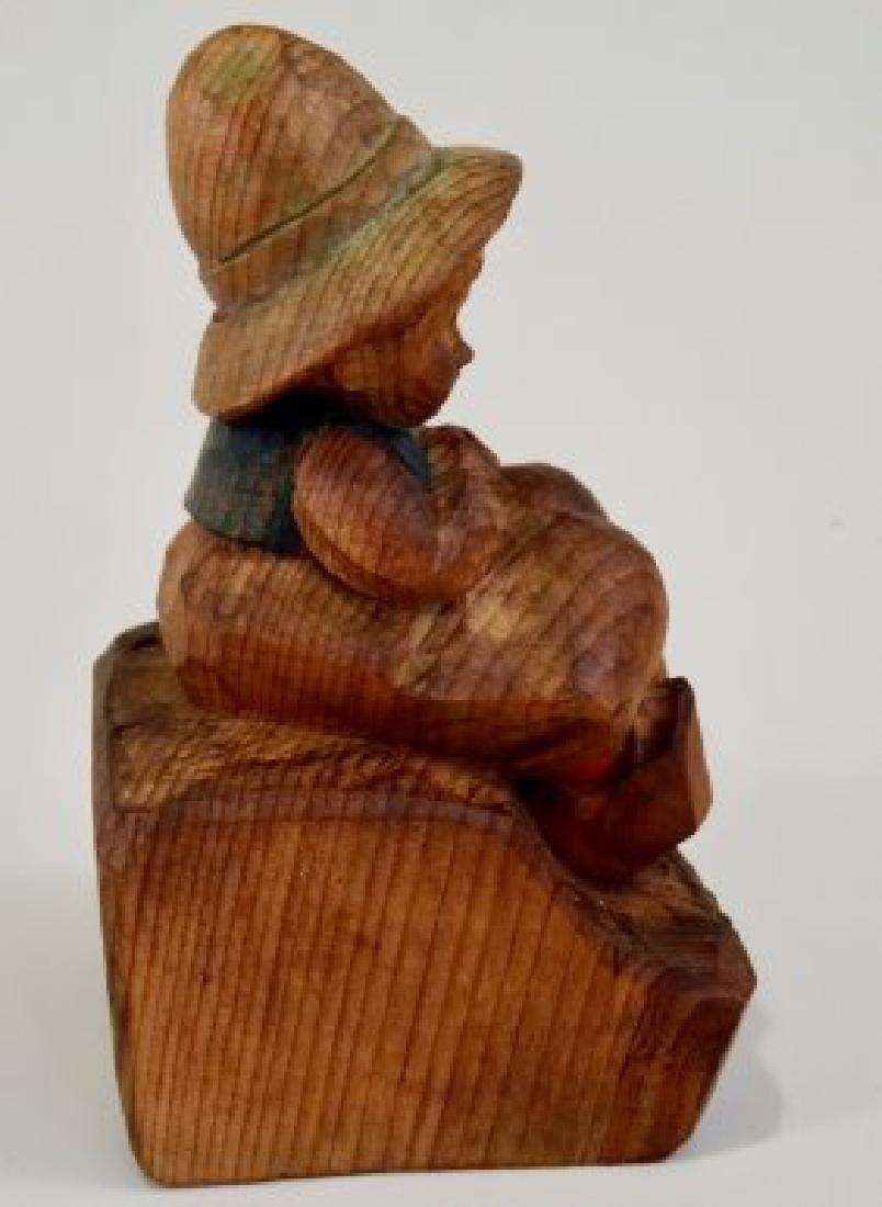 Vintage Folk Wood Carving Smoking Boy - 5