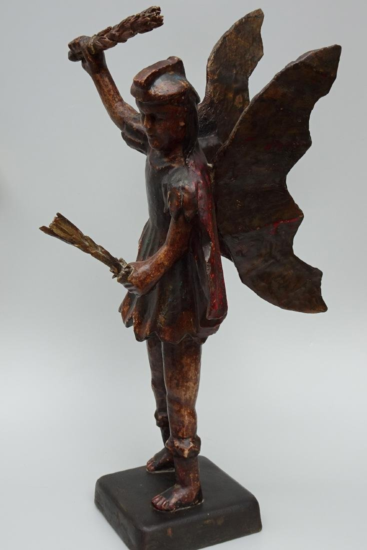 Antique Santos Carved Wood and Gesso Painted Winged - 2
