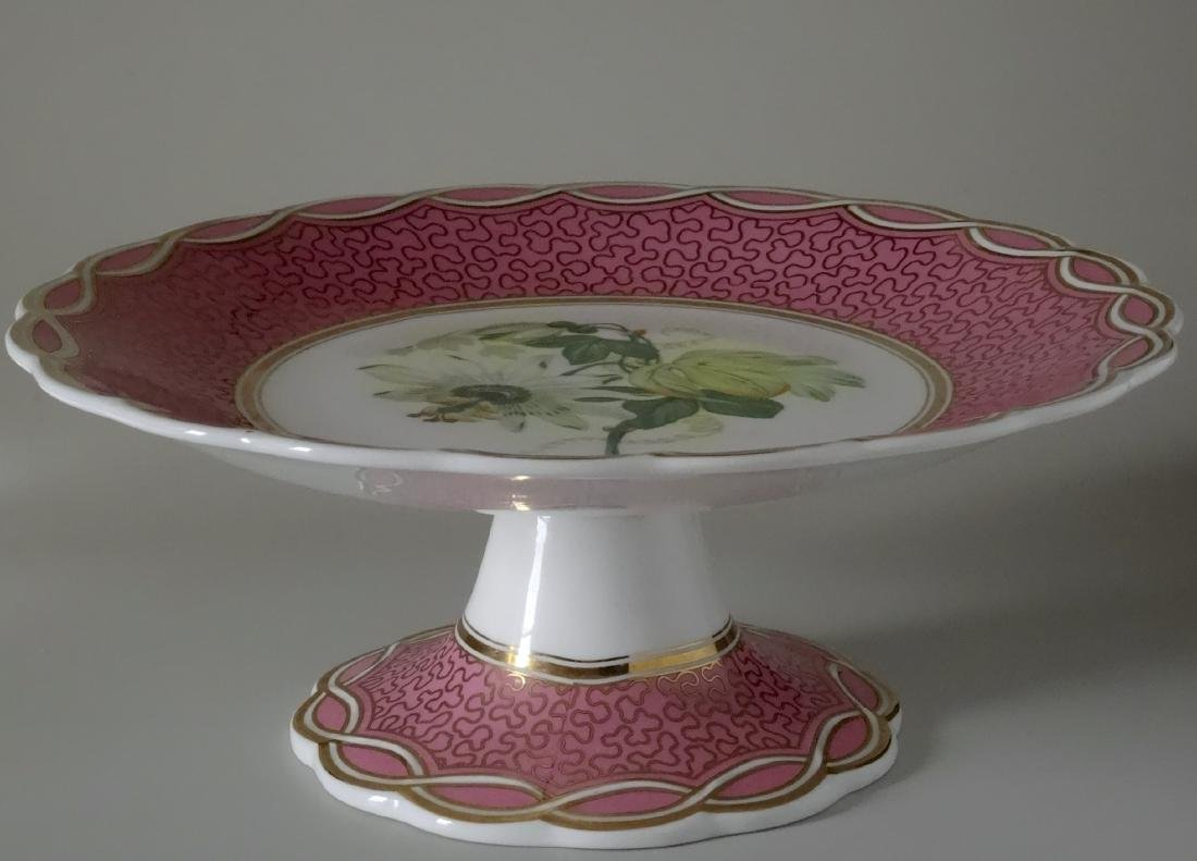 Old Paris Porcelain Pink Plate Compote Cake Stand - 7