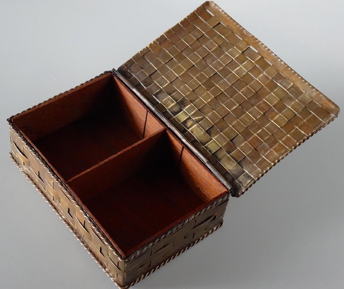 Antique Russian Brass Basket Wave Cigarette Box