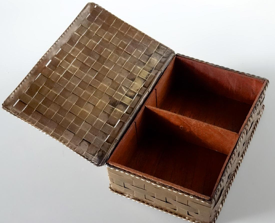 Antique Russian Brass Basket Wave Cigarette Box - 2