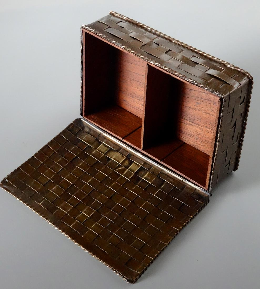Antique Russian Brass Basket Wave Cigarette Box - 3