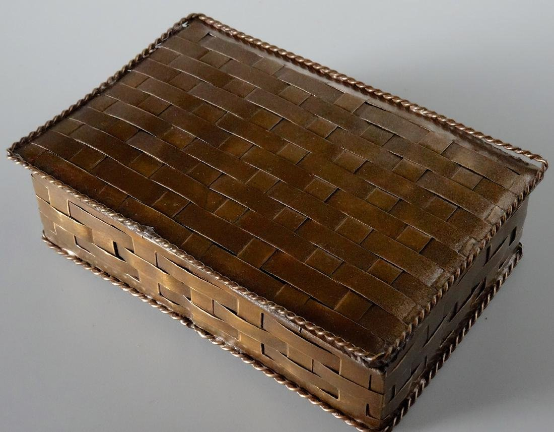 Antique Russian Brass Basket Wave Cigarette Box - 4