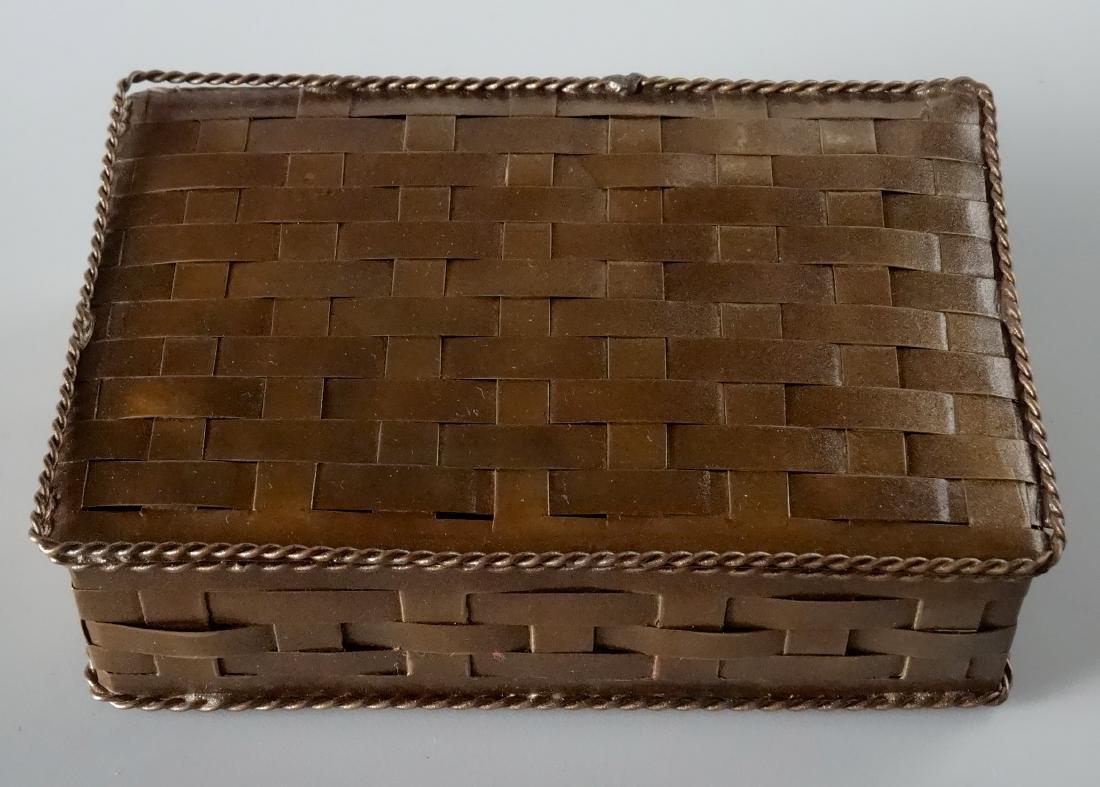 Antique Russian Brass Basket Wave Cigarette Box - 6