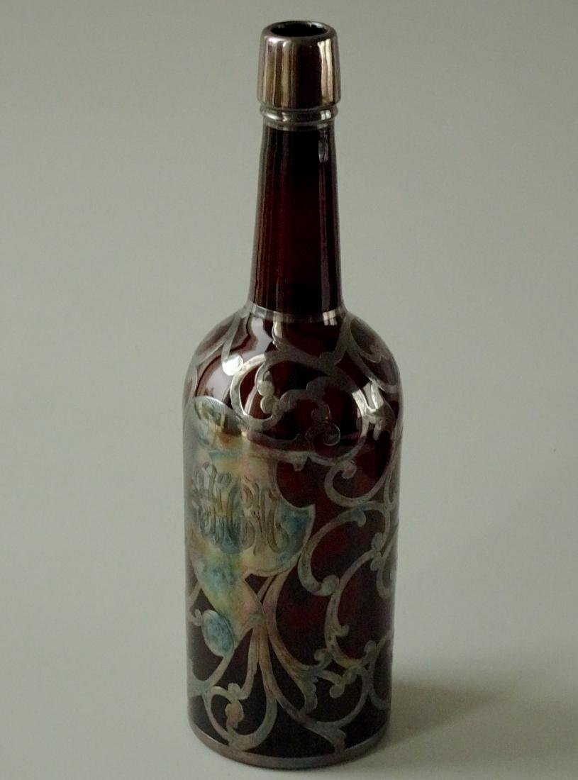 Antique Amber Glass Silver Overlay Scotch Whisky Bottle - 4