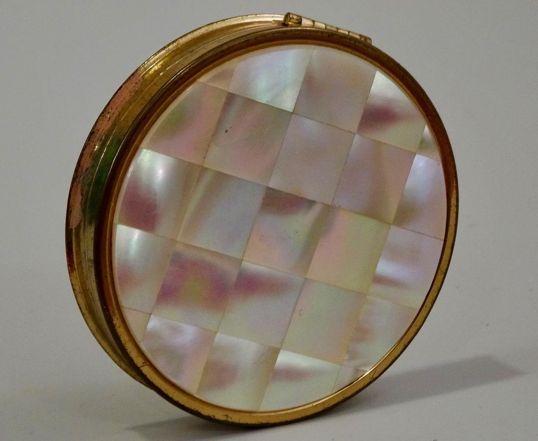 Mother Of Pearl Inlay Compact Round Powder Box