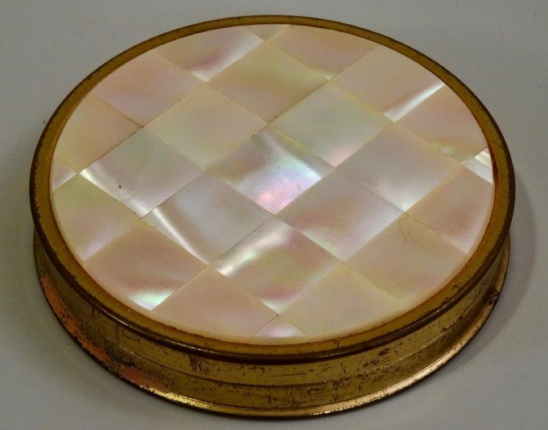 Mother Of Pearl Inlay Compact Round Powder Box - 2