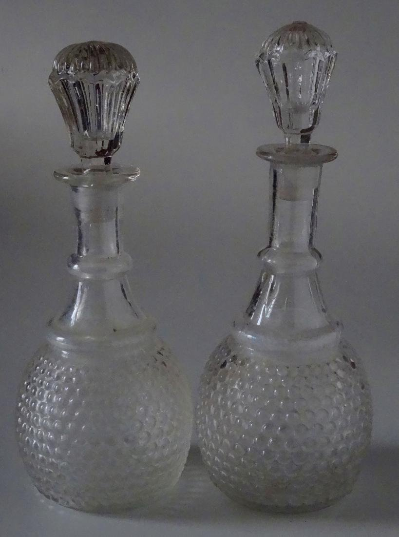 2 Early American Glass Wine Decanters 3 Mold Blown New
