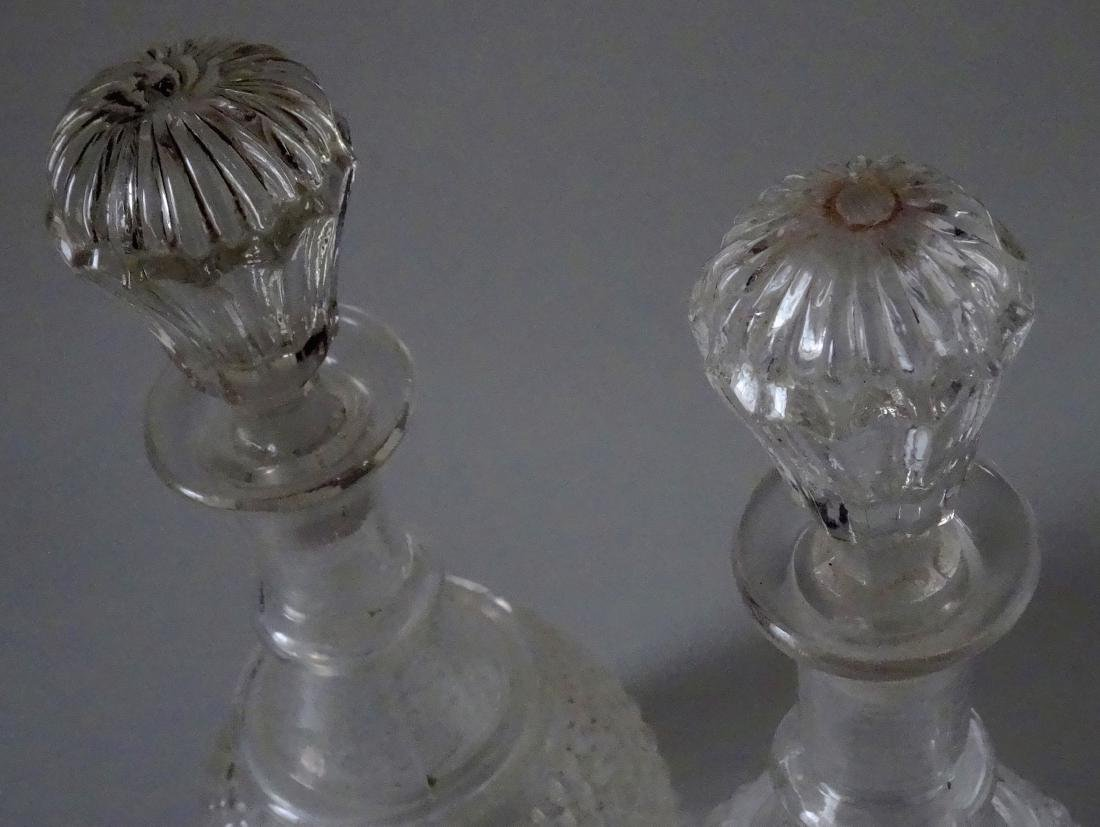 2 Early American Glass Wine Decanters 3 Mold Blown New - 2