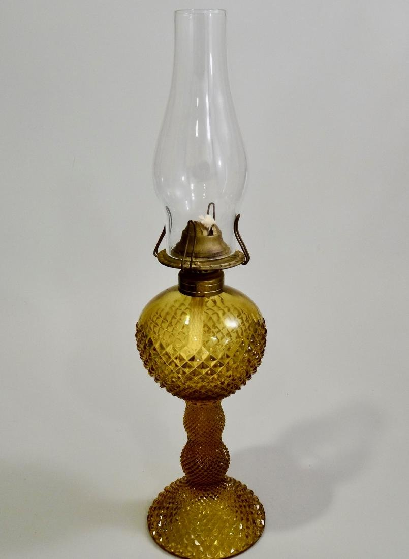 Amber EAPG Diamond Pattern Pressed Glass Kerosene Lamp