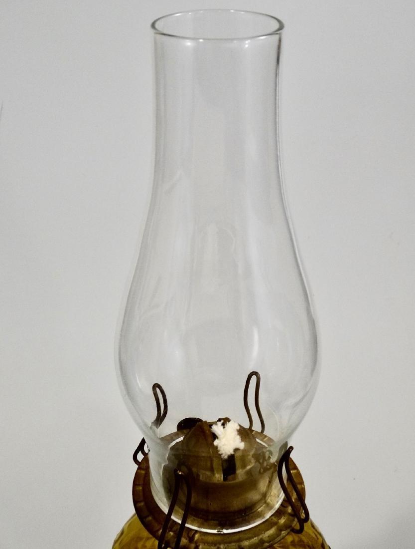 Amber EAPG Diamond Pattern Pressed Glass Kerosene Lamp - 3