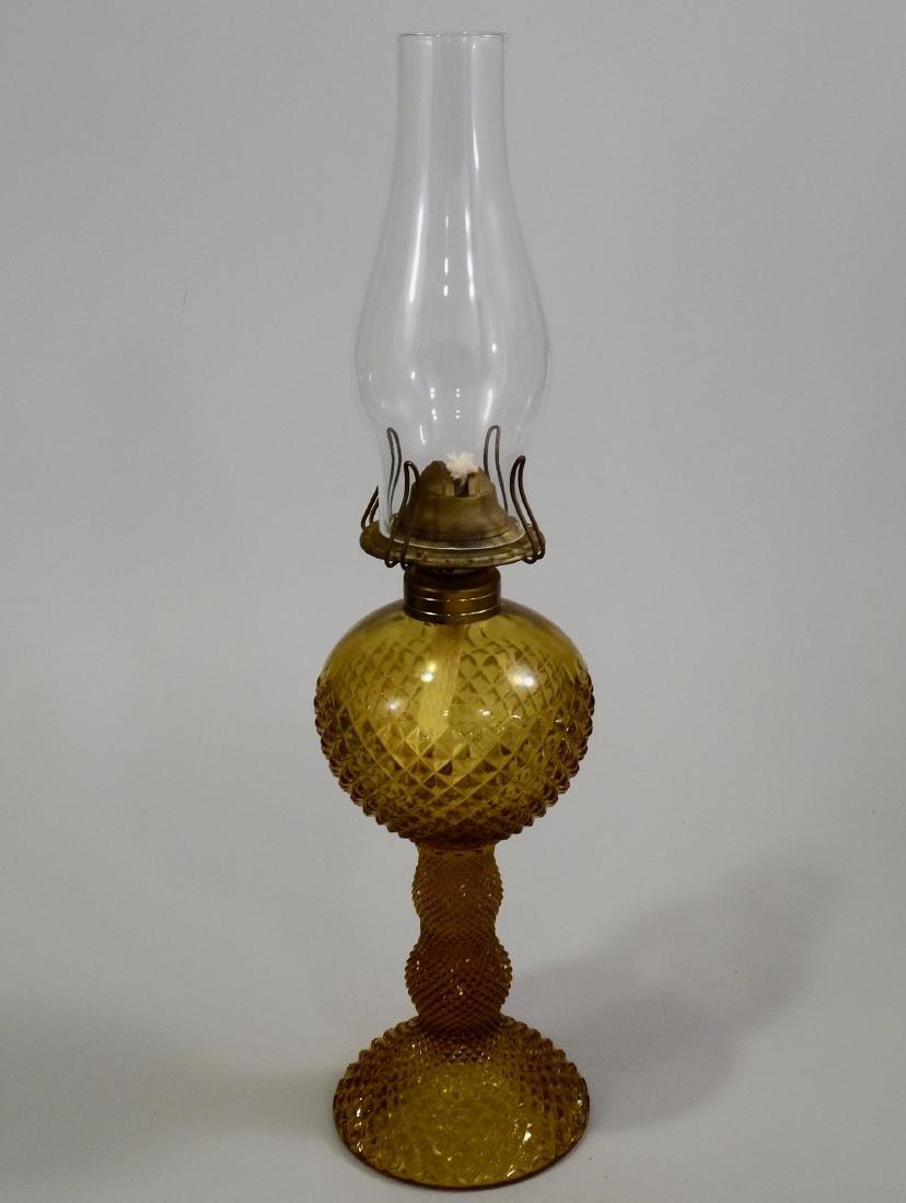 Amber EAPG Diamond Pattern Pressed Glass Kerosene Lamp - 7