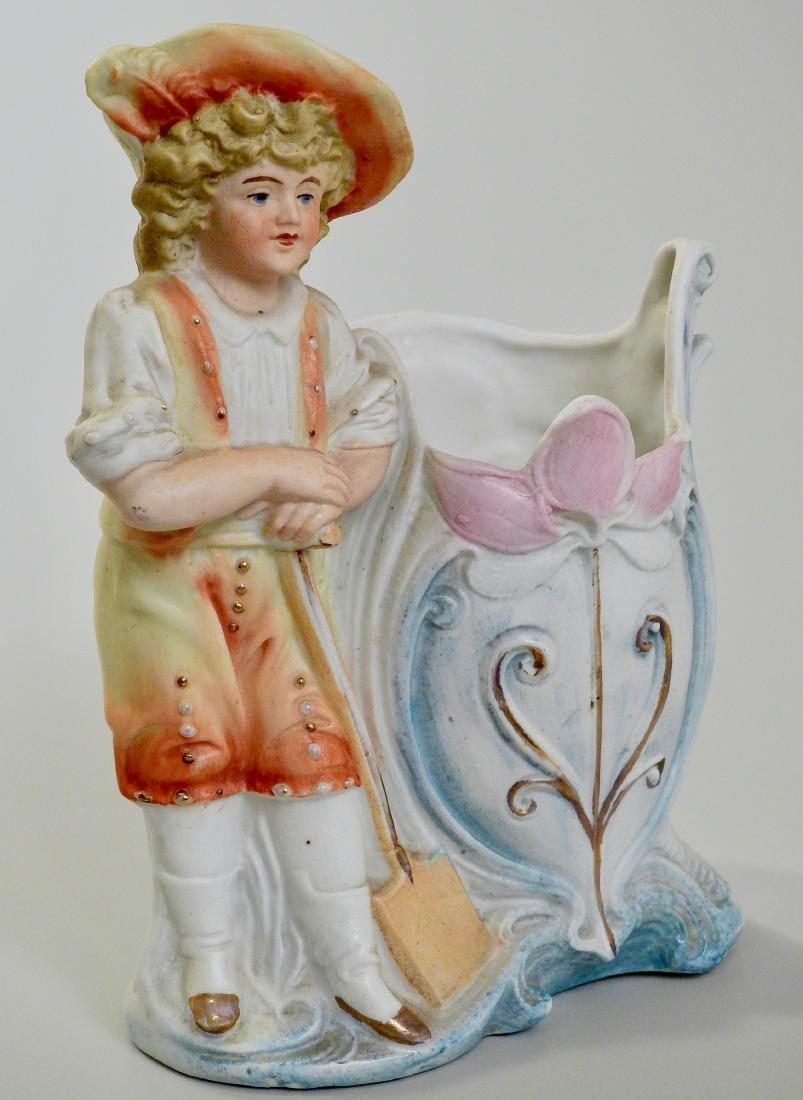 German Gardening Boy Antique Bisque Porcelain Spill - 2