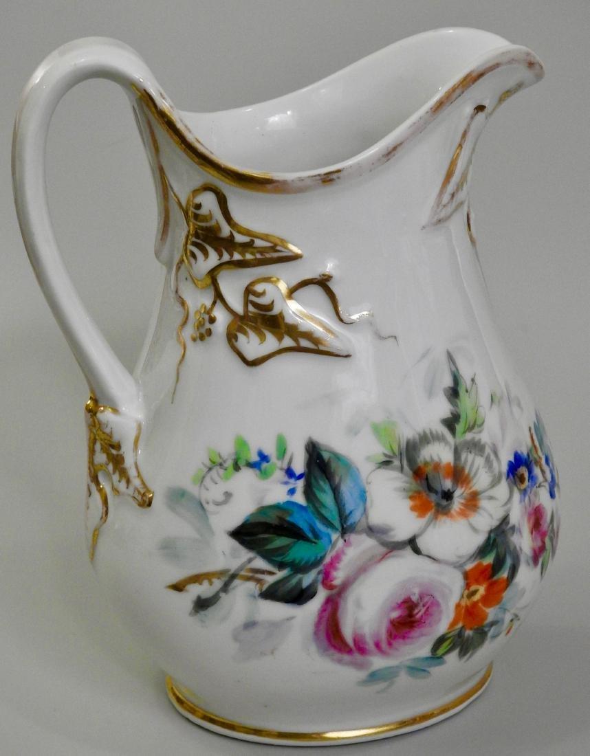 Antique Old Paris Porcelain Painted Pitcher Jug - 3