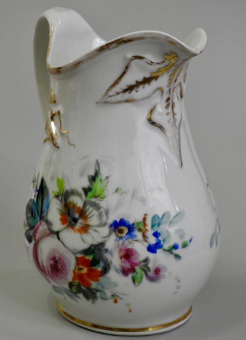 Antique Old Paris Porcelain Painted Pitcher Jug - 4