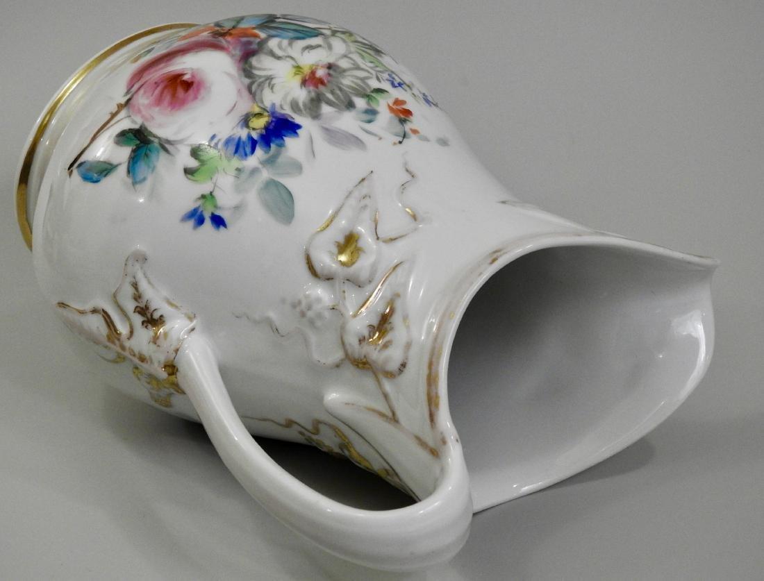 Antique Old Paris Porcelain Painted Pitcher Jug - 5