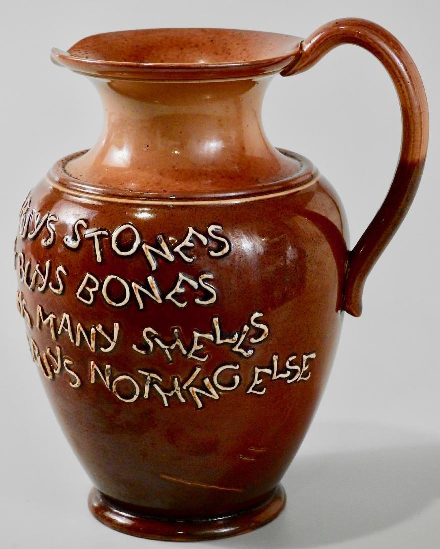 Doulton Lambeth Stoneware Pottery Motto Ale Jug c Late - 3