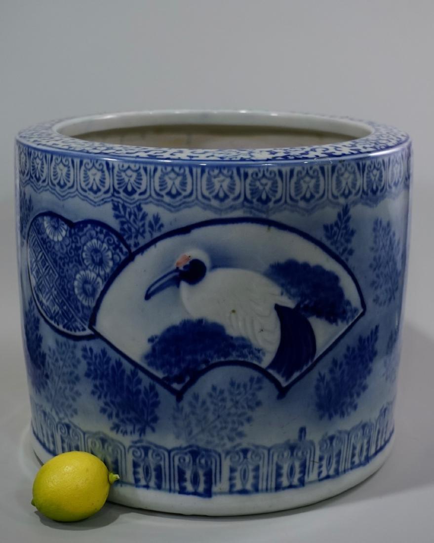 Large Oriental Porcelain Crane Bowl Planter