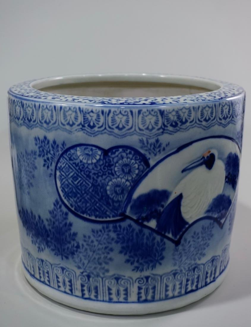 Large Oriental Porcelain Crane Bowl Planter - 2