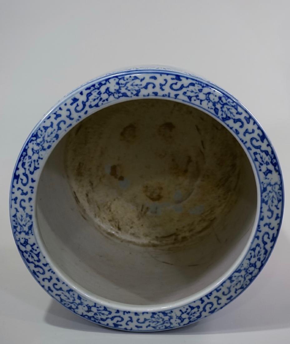 Large Oriental Porcelain Crane Bowl Planter - 6