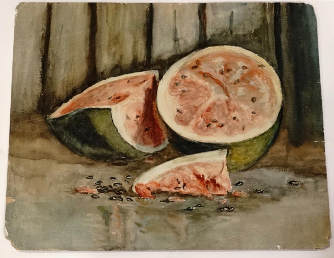 Antique Watermelon Watercolor on Paper - 3