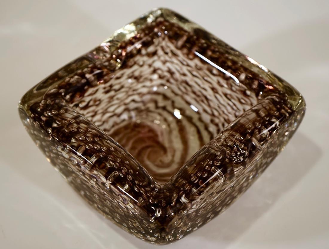 Vintage Italian Art Glass Square Ashtray Zanfirico - 3