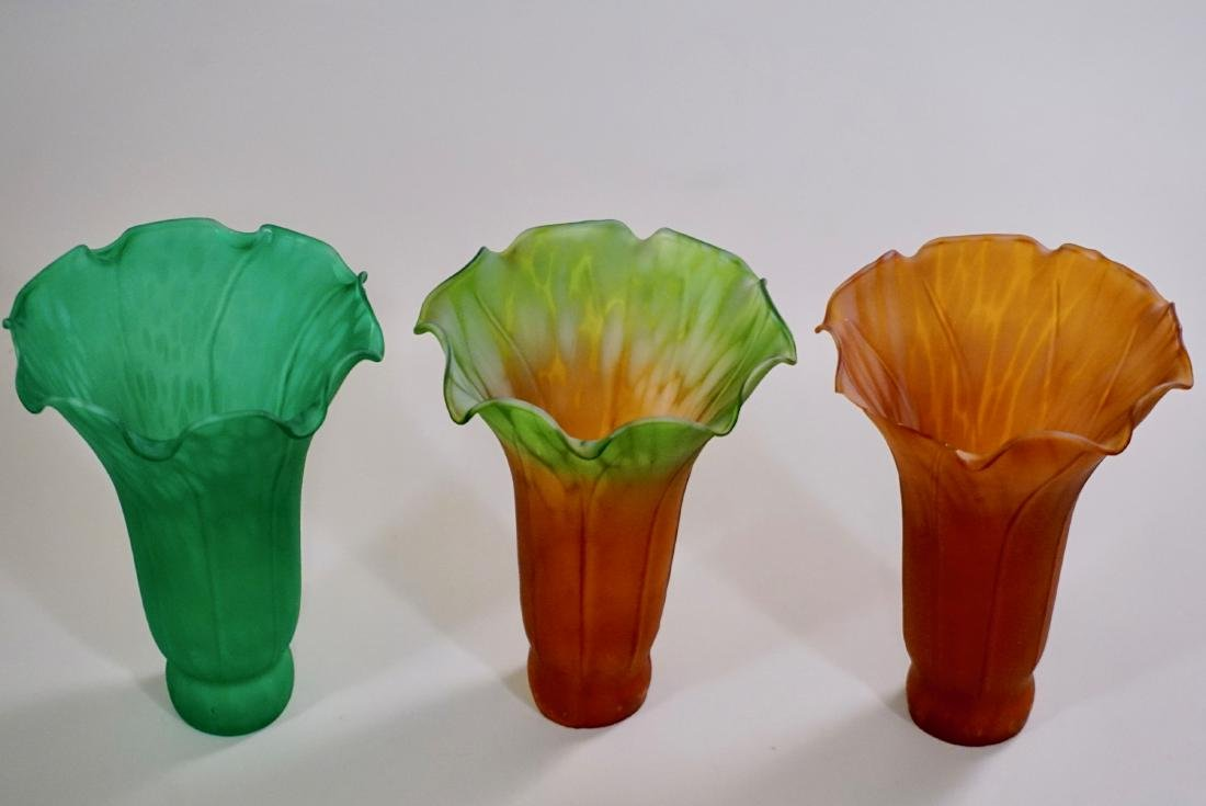 Replacement Tulip Lamp Shade Green Amber Glass Lot of 3 - 2