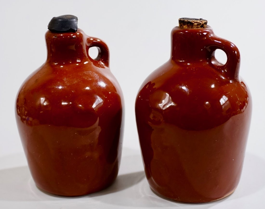 Vintage Small Brown Glaze Pottery Jug Lot of 2