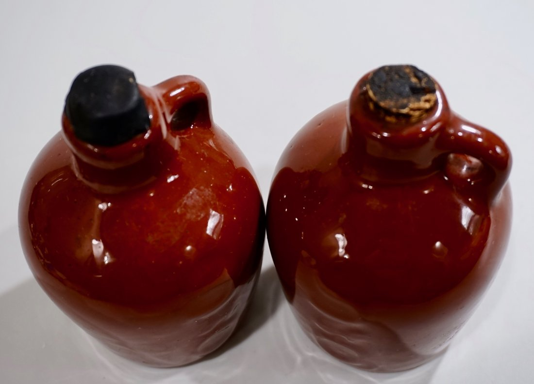 Vintage Small Brown Glaze Pottery Jug Lot of 2 - 2