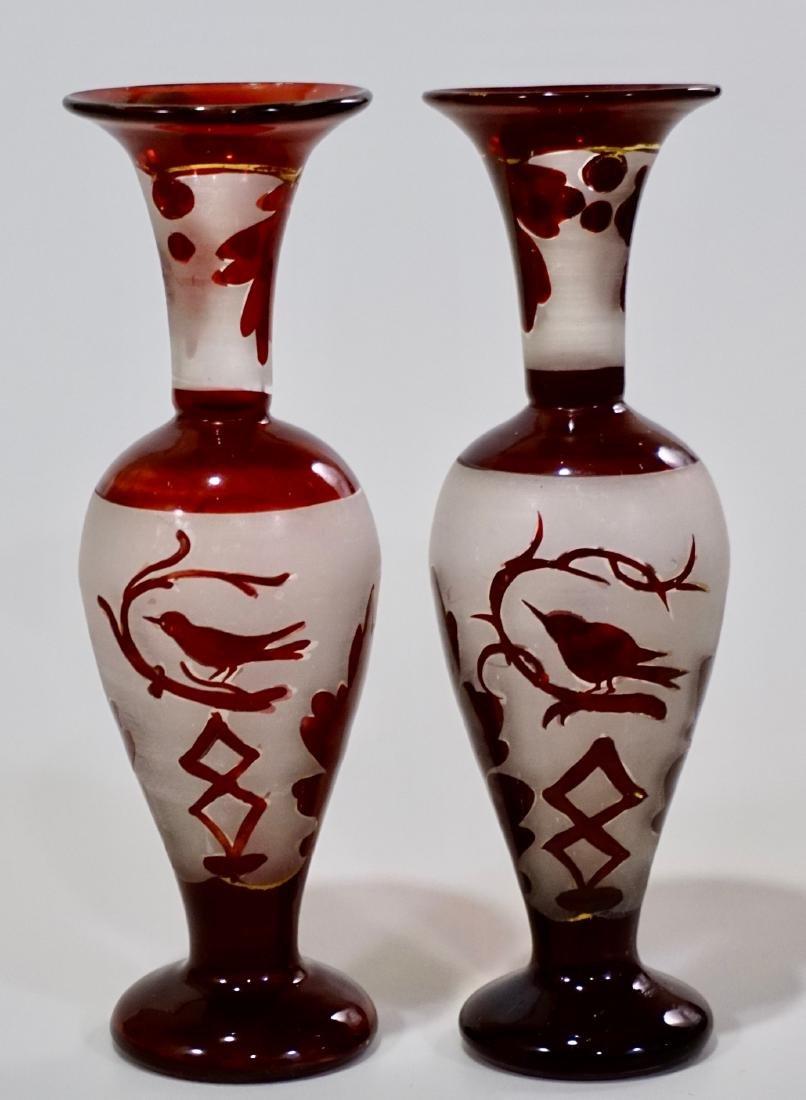 Bohemian Ruby Glass Bird Theme Vase Pair