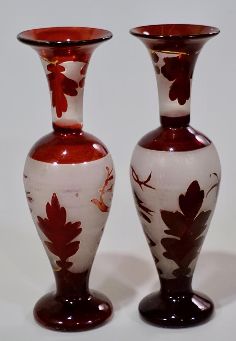 Bohemian Ruby Glass Bird Theme Vase Pair - 2