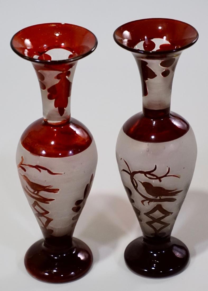 Bohemian Ruby Glass Bird Theme Vase Pair - 3