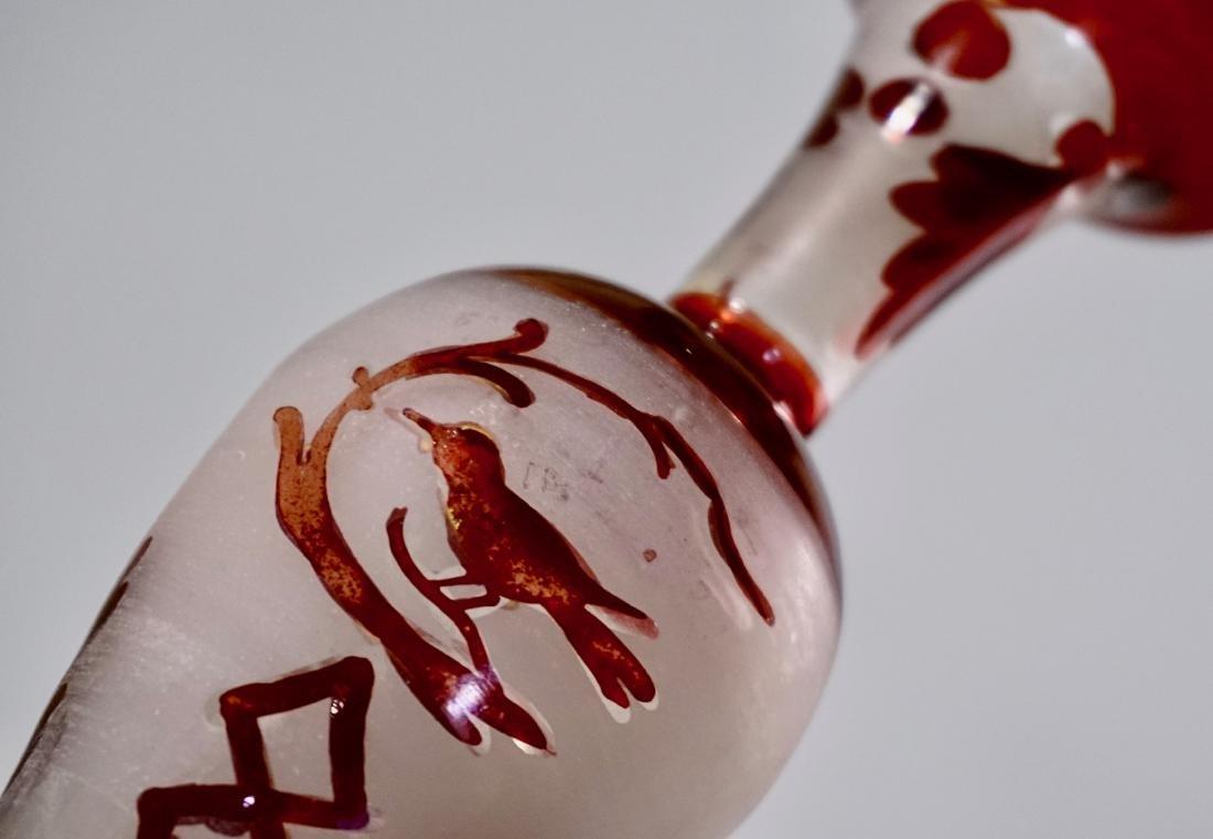 Bohemian Ruby Glass Bird Theme Vase Pair - 4