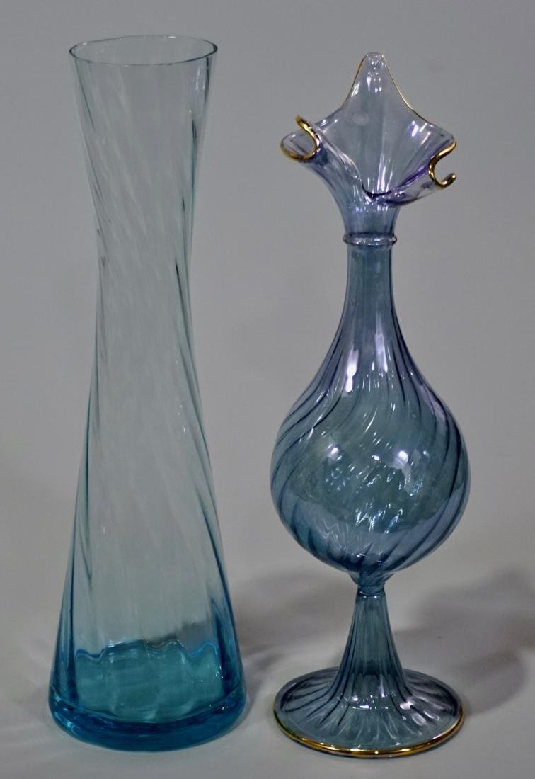 Thin Twisted Blue Glass Vase Lot of 2