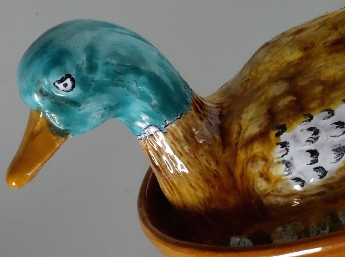 Antique French Pottery Duck Hand Painted Enamel Tureen - 4