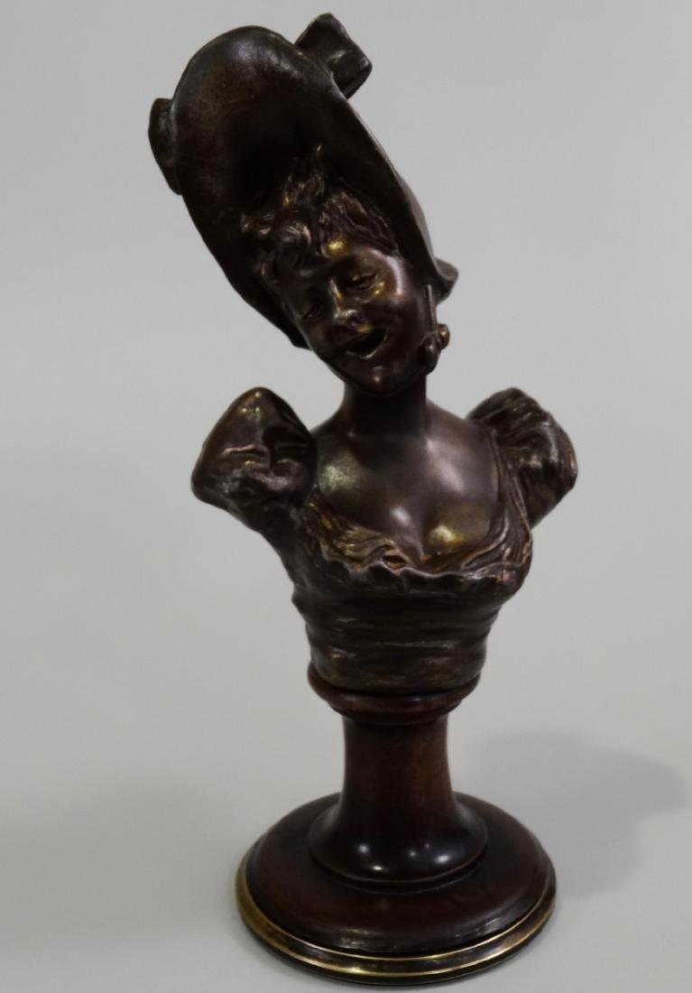 Antique French Spelter Bust Laughing Girl in Bonnet