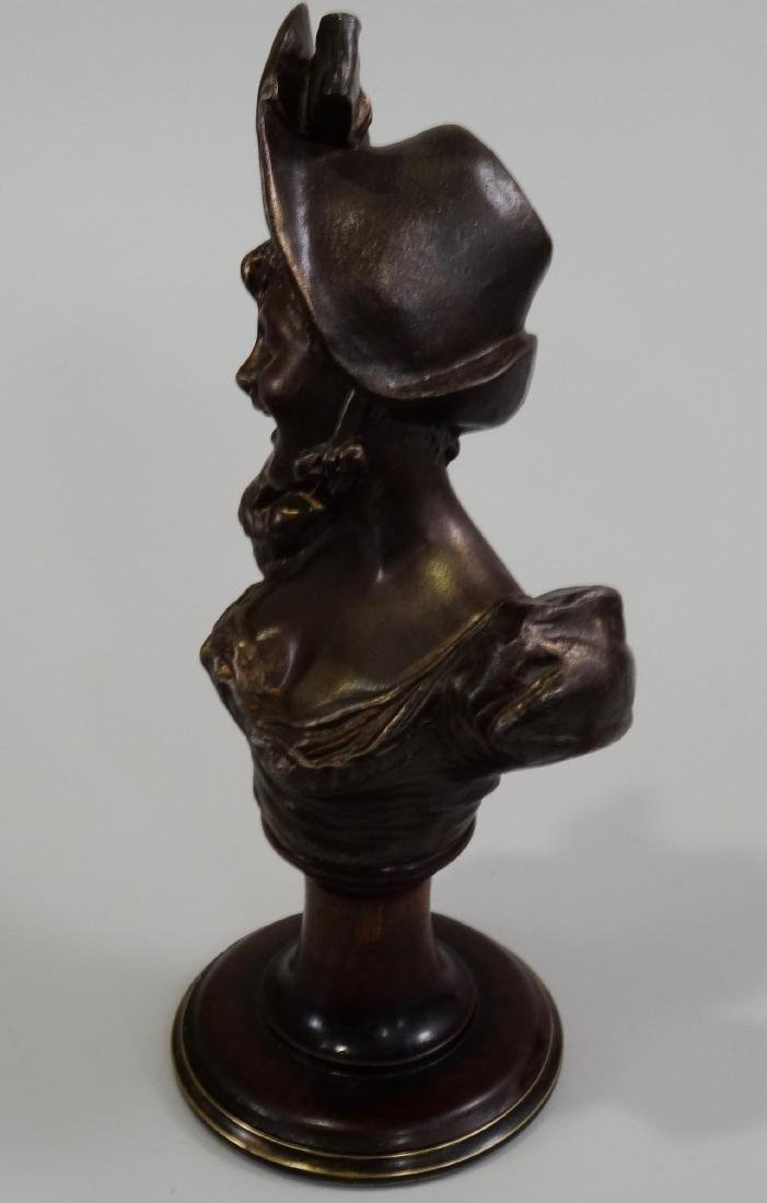 Antique French Spelter Bust Laughing Girl in Bonnet - 2