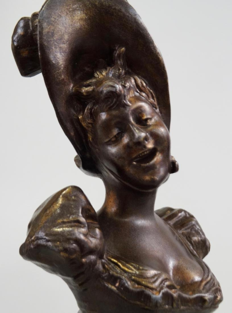 Antique French Spelter Bust Laughing Girl in Bonnet - 6