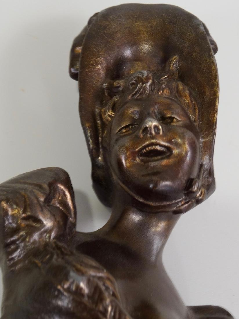 Antique French Spelter Bust Laughing Girl in Bonnet - 7