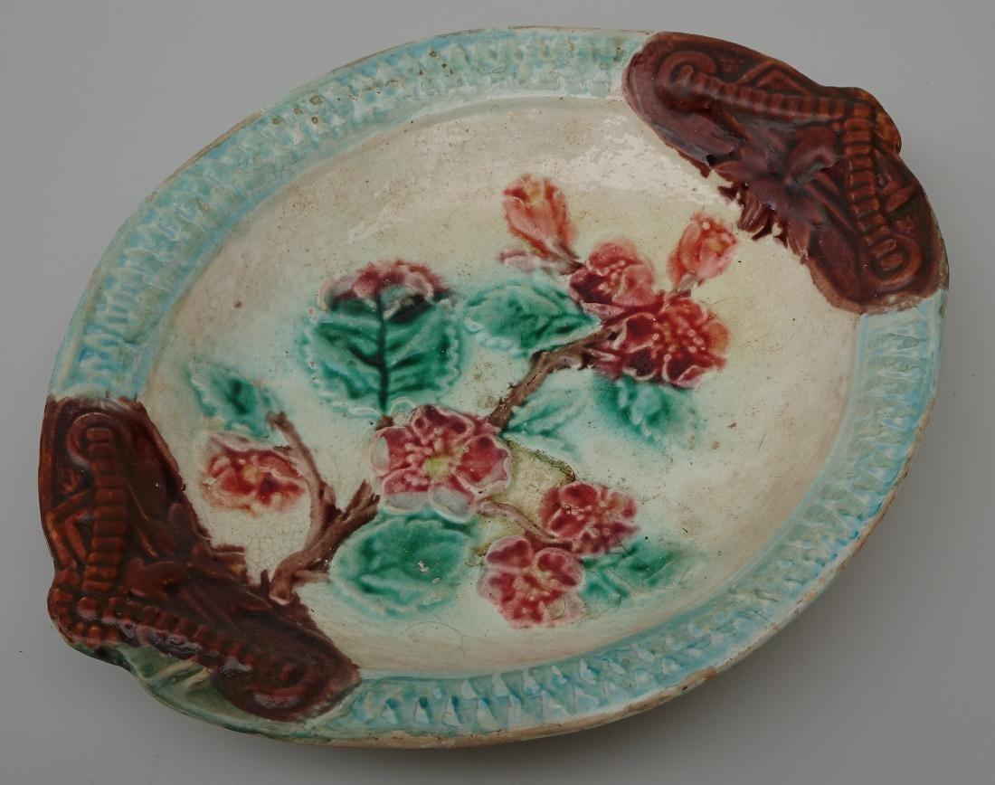 French Art Nouveau Barbotine Majolica Dish Antique