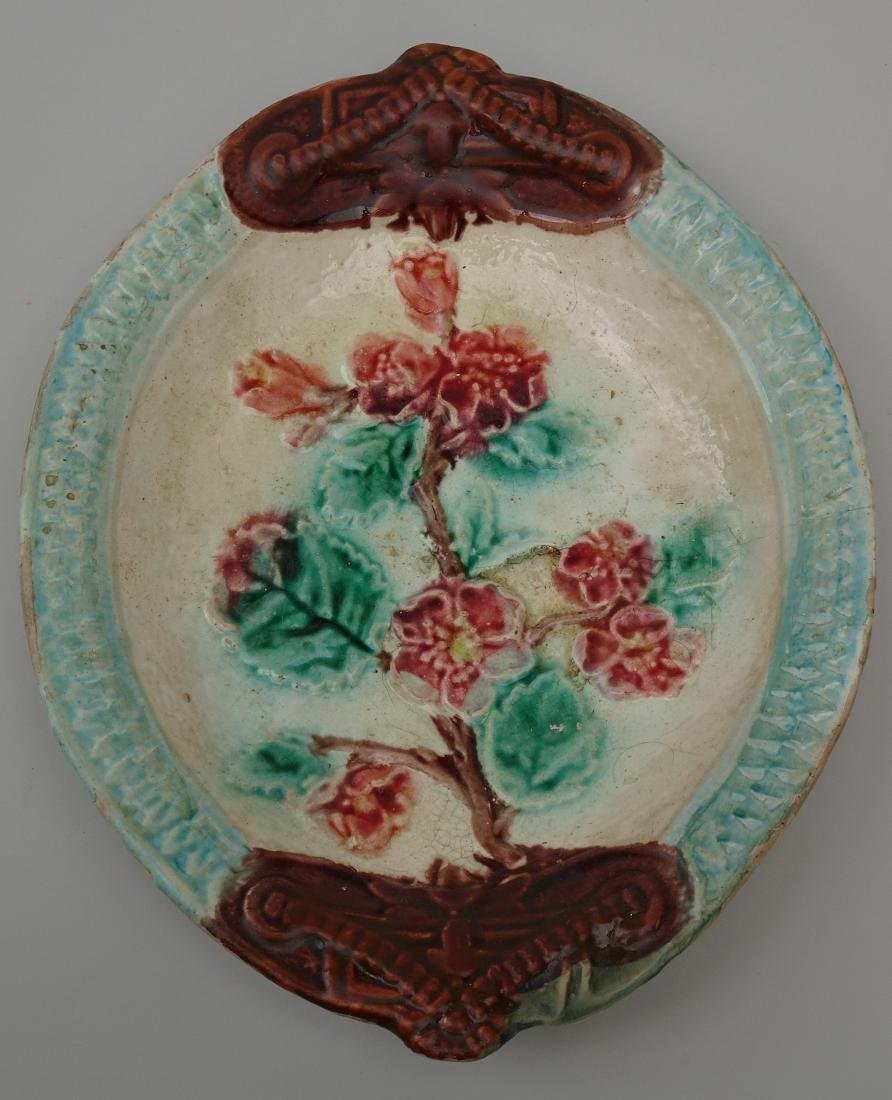 French Art Nouveau Barbotine Majolica Dish Antique - 2