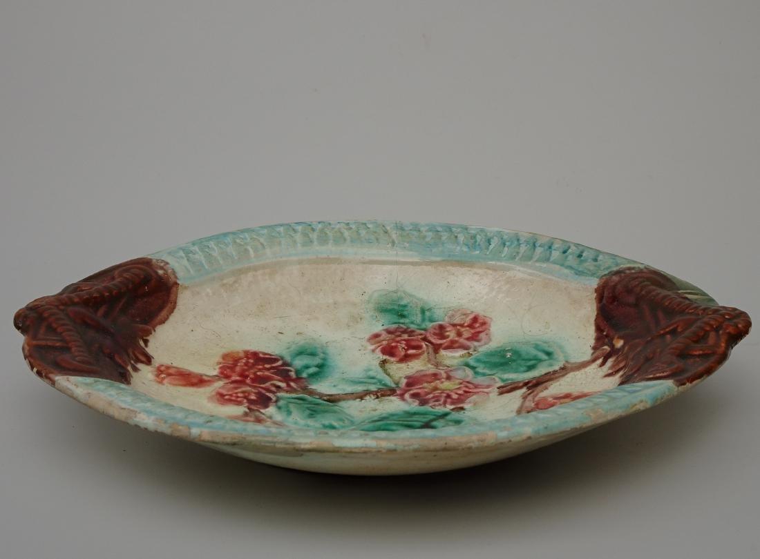 French Art Nouveau Barbotine Majolica Dish Antique - 3